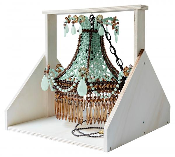 Turquoise and Brown Pavillon Chandelier
